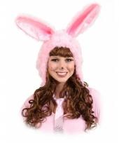 Roze konijnen muts voor dames trend