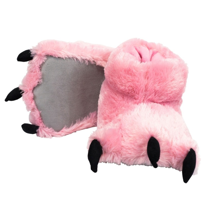 Roze monsterpoten pantoffels voor dames trend