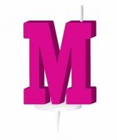 Roze naam kaarsje letter m trend