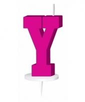 Roze naam kaarsje letter y trend
