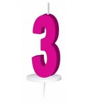 Roze nummer kaarsje cijfer 3 trend