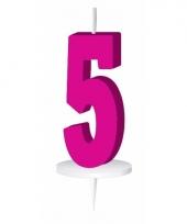 Roze nummer kaarsje cijfer 5 trend
