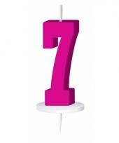 Roze nummer kaarsje cijfer 7 trend
