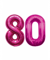 Roze opblaasbare 80 folie ballonnen trend