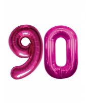 Roze opblaasbare 90 folie ballonnen trend