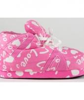 Roze pantoffels love voor dames trend