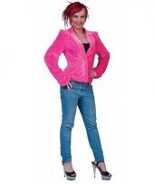 Roze pluche dames colbertje trend