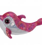 Roze pluche kinder ty beanie dolfijn 24 cm trend
