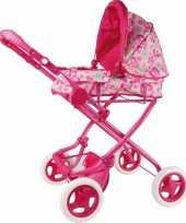 Roze poppen wandelwagen met bloemen trend