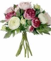 Roze ranunculus ranonkel kunstbloemen boeket 22 cm trend