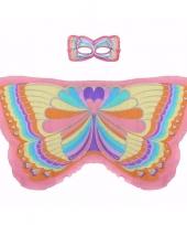 Roze regenboogvlinder verkleedset voor meisjes trend