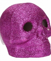 Roze schedel met glitters en led verlichting 9 cm trend