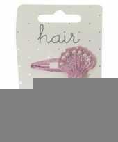 Roze schelpen klikklak haarspeldjes 2 stuks trend