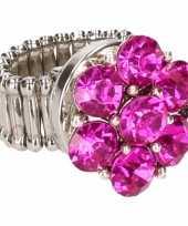 Roze steentjes chunk ring voor volwassenen trend