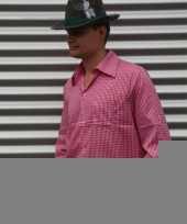 Roze tiroler overhemd met ruitjes trend