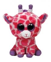 Roze ty beanie giraffe kinder knuffel 24 cm trend