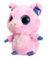 Roze varken knuffel 20 cm met grote ogen trend