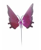 Roze vlinder op stok 74 cm trend
