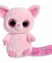 Roze vos knuffel 28 cm met grote ogen trend