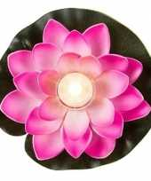 Roze waterlelie met led licht 13 cm trend
