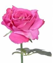 Roze zijden roos 31 cm trend