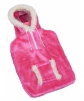 Rubberen kruik met roze pluchehoes 2 liter trend