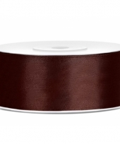 Satijn sierlint bruin 25 mm trend
