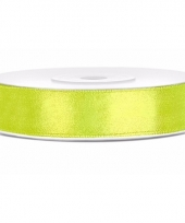 Satijn sierlint neon groen 12 mm trend
