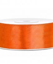 Satijn sierlint neon oranje 25 mm trend