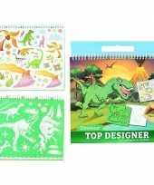 Schetsboek dino met stickers en sjablonen trend