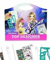 Schetsboek rockster kleding ontwerpen met stickers en sjablonen trend