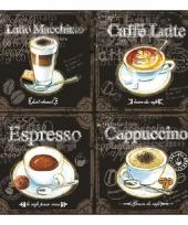 Servetten 4 soorten koffie print 3 laags 20 stuks trend