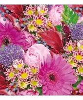 Servetten boeket bloemen 3 laags 20 stuks trend