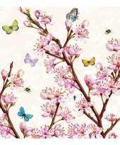 Servetten fruit bloesem print 3 laags 20 stuks trend