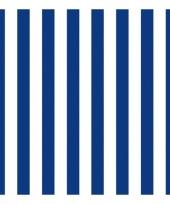 Servetten gestreept marineblauw wit 3 laags 20 stuks trend