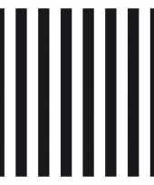 Servetten gestreept zwart wit 3 laags 20 stuks trend