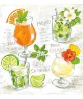 Servetten met cocktail print 3 laags 20 stuks trend