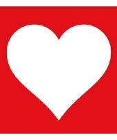 Servetten rood met wit hart 20 stuks trend