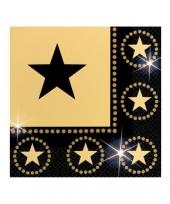 Servetten zwart met gouden ster trend