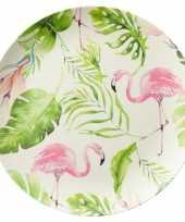 Set van 2 melamine ontbijtborden flamingo 25 cm trend