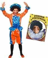 Set van blauw met oranje kids 3 4 jr pietenpak en pruik trend