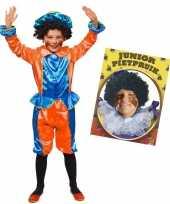 Set van blauw met oranje kids 6 8 jr pietenpak en pruik trend