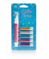 Setje van 5 glitter pennen licht trend