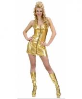 Sexy goud dames jurkje met rits trend