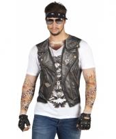 Shirt met bikerman vrouw opdruk trend