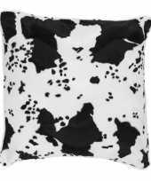 Sierkussen fluweel met koeienprint zwart wit 47 x 47 cm trend