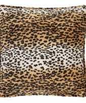 Sierkussen fluweel met luipaardprint 47 x 47 cm trend