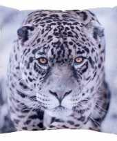 Sierkussen met print van jaguar luipaard 30 x 30 cm trend