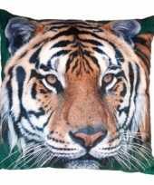 Sierkussen met print van tijger 40 x 40 cm trend