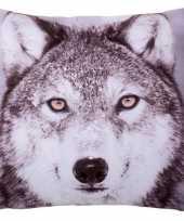 Sierkussens met print van wolf 30 x 30 cm trend